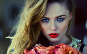 Picture eyes, look, girl, flowers, face, model, hair, portrait, roses, makeup, blonde, beauty, girl, beautiful, clove, …