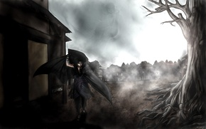 Picture birds, the city, fog, tree, katana, naruto, bandages, Uchiha Itachi, uchiha sasuke