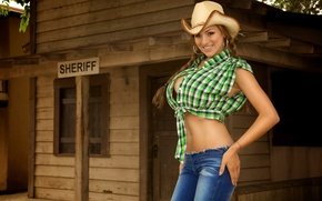 Picture chest, look, pose, Girl, hat, Jordan Carver
