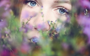 Picture eyes, girl, flowers, face