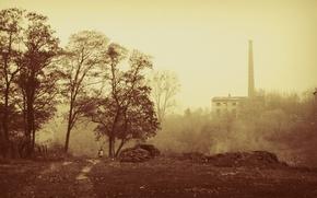 Wallpaper fog, pipe, autumn, Sepia, the city