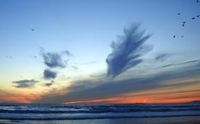 Wallpaper Sea, wave, the sky, horizon, clouds