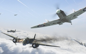 Picture aviation, attack, the British, aircraft, the second world war, dogfight