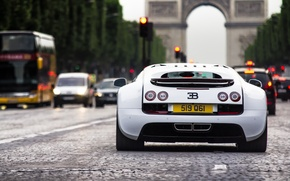 Picture white, machine, the city, Bugatti, arch, Veyron, white, Bugatti, paris, france, back, Super, Sport, Veyron, …