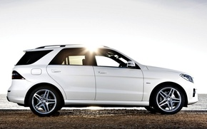 Picture The sun, Sea, White, Mercedes, Shore, Mercedes, Benz, Car, Car, Sun, White, Amg, Wallpaper, BlueTec, …