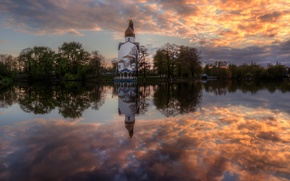 Picture the sky, reflection, spring, May, temple, Sestroretsk