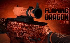 Picture dragon, characters, symbol, paint, workshop, cs go, presentation, flaming dragon, SG553