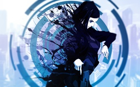 Picture circles, squirt, gun, Ergo Proxy, blue, holster, blurred background, the disappearance, Ergo Proxy, Re-l Mayer