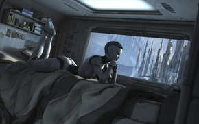 Picture the city, fiction, robot, window, bed, cyborg, sci-fi, mechanoid