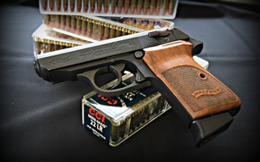 Wallpaper gun, weapons, Walther, self-loading, PPK/S
