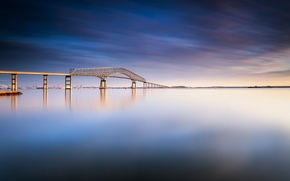 Picture the sky, water, clouds, bridge, surface, river, day, USA, blue, Baltimore, Maryland