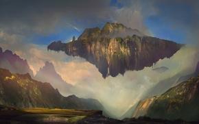 Picture the sky, clouds, landscape, fantasy, island, art