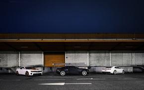 Picture white, night, black, the building, white, Chevrolet, black, chevrolet, camaro ss, Camaro