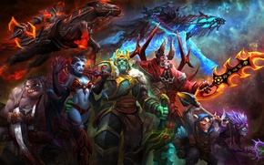 Wallpaper art, Dota 2, Akasha, Butcher, Abaddon, Doom, Queen of Pain, Chaos Knight, Meepo, Pudge, Dazzle, ...
