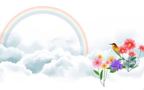 Picture clouds, flowers, bird, rainbow, art, vector drawing