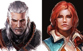 Picture fantasy, art, The Witcher, Geralt, Triss Merigold, literary character