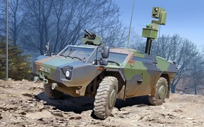 Picture figure, art, Krauss-Maffei Wegmann, Fennec, modern light reconnaissance armored car, joint development of Germany and …