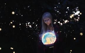 Picture girl, light, globe