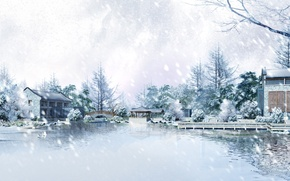 Picture cold, ice, winter, snow, trees, snowflakes, nature, house