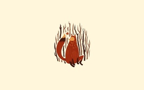 Wallpaper minimalism, illustration, red, trees, figure, tail, branches, branches, Fox