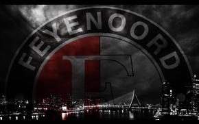 Picture city, wallpaper, sport, logo, night, football, Rotterdam, Feyenoord