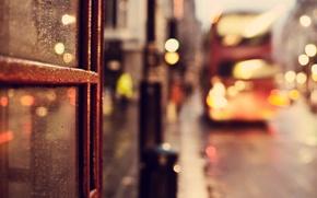 Picture glass, London, road, England, London, rain, the city, lights, England, drops, macro, bokeh, UK, bus, …