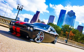 Picture the sky, clouds, bridge, black, lights, black, Dodge, dodge, challenger, Challenger, R/T