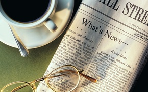 Wallpaper glasses, Cup, coffee, 1920x1080, newspaper, Cup holder, news, spoon, news