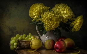 Picture flowers, berries, apples, Board, grapes, pitcher, fruit, still life, basket, chrysanthemum, still life