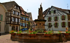 Picture flowers, France, home, area, fountain, statue, street, Euguisheim
