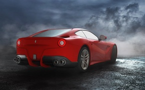 Picture The sky, Red, Road, Wheel, Ferrari, Ass, Clouds, Exhaust, Red, Lights, Clouds, Sky, Mirror, Supercar, ...