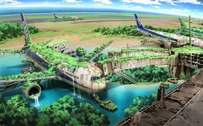 Picture water, machine, thickets, waterfall, art, aircraft, the ruins, airport, postapocalyptic, terminal