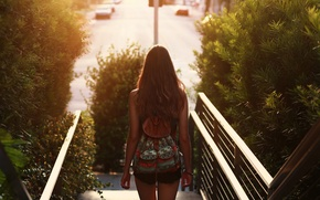 Picture girl, hair, backpack