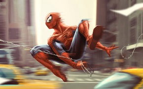 Picture city, the city, movement, jump, web, costume, taxi, jump, taxi, Spider-man, costume, web, Spider-Man, Peter …