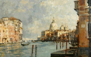 Picture picture, the urban landscape, Edward Seago, Cathedral della Salute in Venice