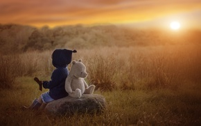 Picture autumn, sunset, stone, toy, boy, bear, child, Teddy bear