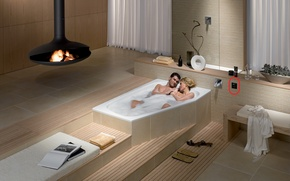 Picture bath, fireplace, two