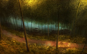 Picture forest, grass, trees, river, bamboo, art, track, path