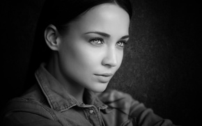 Picture eyes, look, girl, portrait, black and white photo, Angelina Petrova