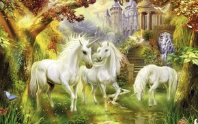 Wallpaper fiction, horse, unicorn, Thomas Kinkade