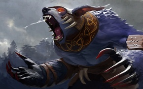 Picture bear, valve, scream, rage, dota 2, claws, Ursa worrior