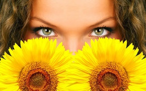 Wallpaper eyes, flowers, sunflower