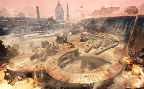 Picture the city, ships, dust, Renegade Squadron, Star Wars Battlefront