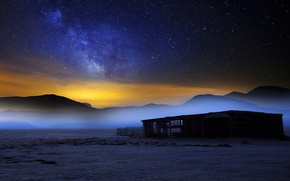 Picture stars, mountains, night, fog, the barn, the milky way