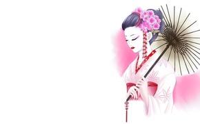 Picture girl, flowers, figure, umbrella, art, geisha, white background, kimono