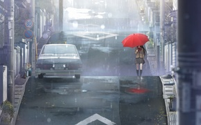 Picture road, machine, red, rain, street, posts, umbrella, The city, signs, schoolgirl, road