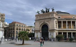 Picture Italy, monument, Sicily, Palermo, Piazza Ruggero Settimo, Teatro Politeama