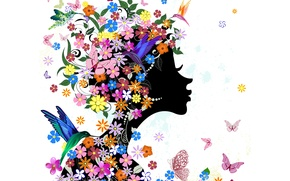 Picture girl, butterfly, flowers, birds, abstraction, girl, flowers, birds, abstraction, butterflies