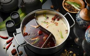 Wallpaper pan, soup, tea, pepper