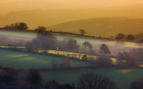 Picture fog, hills, England
